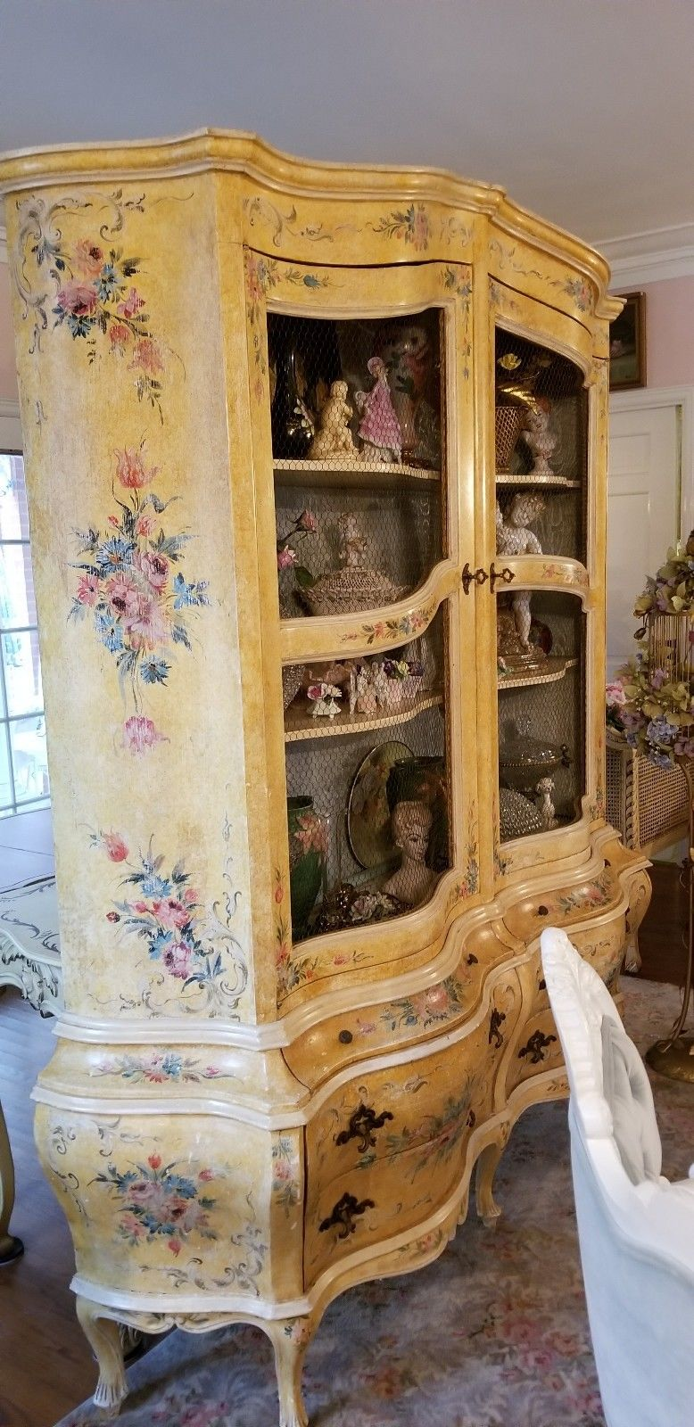 Vintage Italian Painted French Wired Front Cabinet