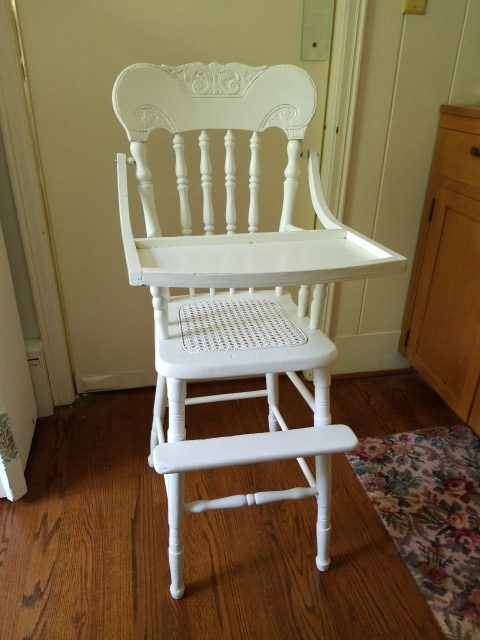 Antique Cottage White Carved Caned Painted High Chair